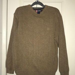 Chaps Ralph Lauren Crew Heavy Knit Sweater Brown